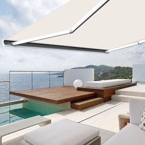 Store banne extérieur coffre intégral motorisé et manuel pour terrasse - Écru - 4 x 3,5 m