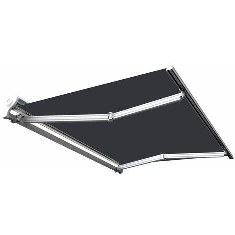 Store banne manuel Demi coffre pour terrasse - Gris anthracite - 2,5 x 2 m