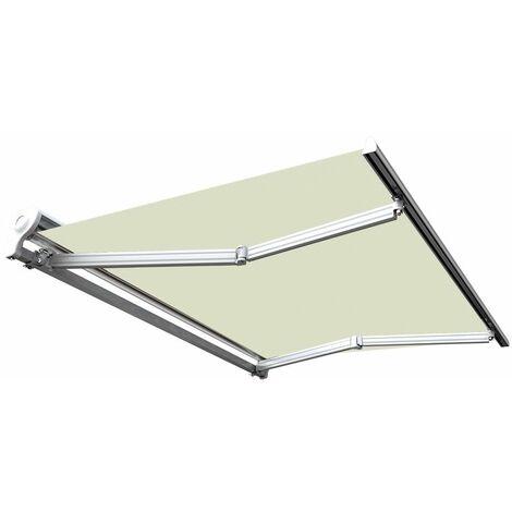 Store banne manuel Demi coffre pour terrasse - Écru - 2,5 x 2 m