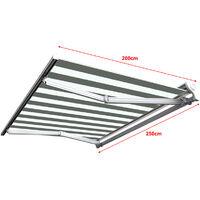 Store banne manuel Demi coffre pour terrasse - Blanc gris - 2,5 x 2 m