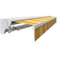 Store banne manuel Demi coffre pour terrasse - Jaune rayé - 2,5 x 2 m