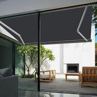 Store banne extérieur coffre intégral motorisé et manuel pour terrasse - Gris anthracite - 3 x 2,5 m
