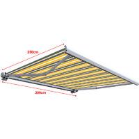 Store banne extérieur coffre intégral motorisé et manuel pour terrasse - Gris jaune - 3 x 2,5 m