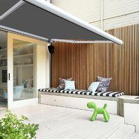Store banne extérieur coffre intégral motorisé et manuel pour terrasse - Gris - 3 x 2,5 m