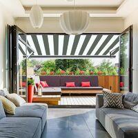 Store banne extérieur coffre intégral motorisé et manuel pour terrasse - Blanc gris - 3,5 x 3 m