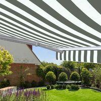 Store banne manuel Monobloc pour terrasse - Blanc gris - 3 x 2,5 m