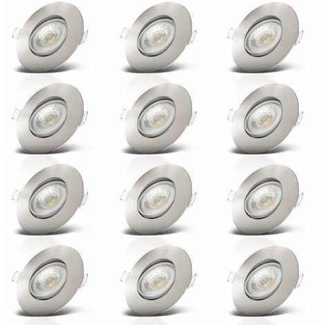 Faretti LED da incasso ultrapiatti orientabili per bagno, LED integrati 5W, foro à˜68mm, luce calda 3000K, 460Lm, set di 12 faretti da soffitto rotondi, plastica color nichel opaco 230V IP23