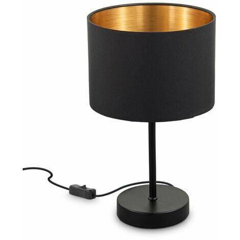 B K Licht I Lampada Da Tavolo In Tessuto Nero Oro I E27 I 1 Fiamma I