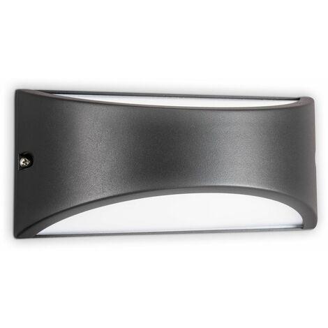 B.K.Licht I Lámpara de exterior con luz ascendente y descendente I IP44 I Aplique semicircular I E27 I negro I 220x100x100 mm
