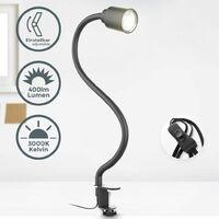 B.K.Licht LED abrazadera de luz incl. 5W GU10 iluminador I blanco cálido I cuello de cisne flexible I giratorio I interruptor de conmutación I cuello de cisne I metal I negro-mate