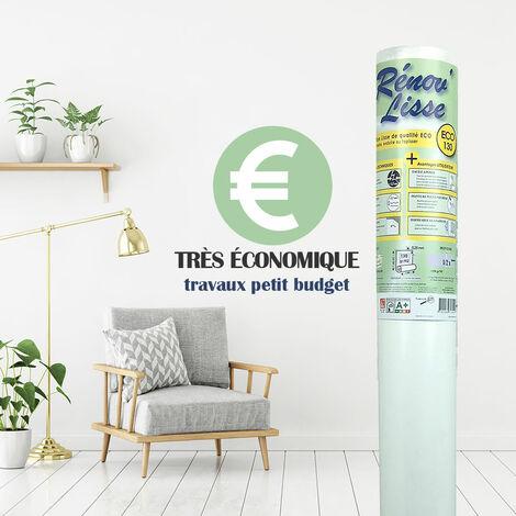 Toile de rénovation lisse murs et plafonds - 130 gr/m² - Eco - Rouleau de 25m² - a peindre, enduire ou tapisser