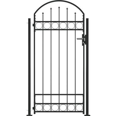 Portail de clôture à dessus arqué et 2 poteaux 100x200 cm Noir