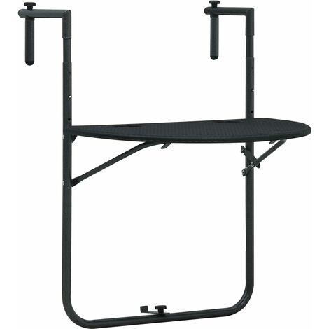 Table de balcon Noir 60x64x83,5 cm Plastique Aspect de rotin