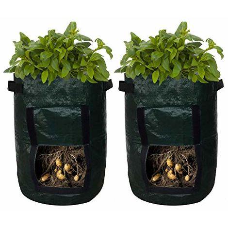 Lot de 2 sacs de culture noirs Sac de culture portable pour pommes de terre Sacs de planteur Poche de plantation avec poignées Rabat d'accès pour légumes carottes et oignons