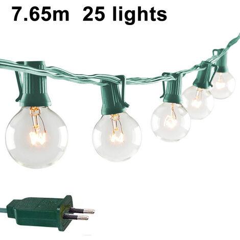 Guirlandes lumineuses avec ampoules G40 répertoriées dans l'arrière-cour Patio Lights Garden Party Ampoules chaudes naturelles Café Parapluie suspendu Lumières sur guirlande lumineuse Intérieur extérieur, style 1