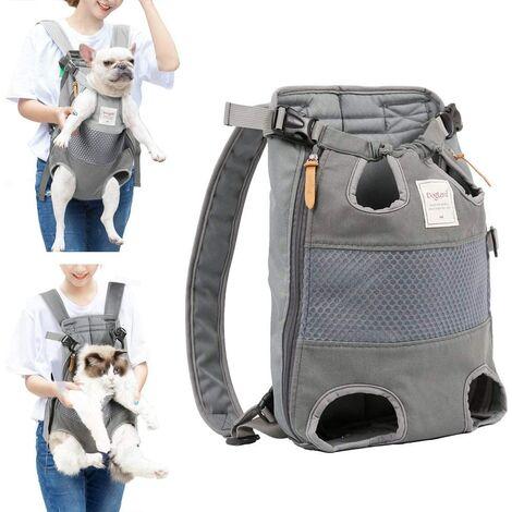 Sacs à dos pour chiens chiens de taille moyenne sac de transport pour chien sac de chien sac de transport réglable sac à dos pour la randonnée, les voyages, camping, support jusqu'à 12 kg Gris