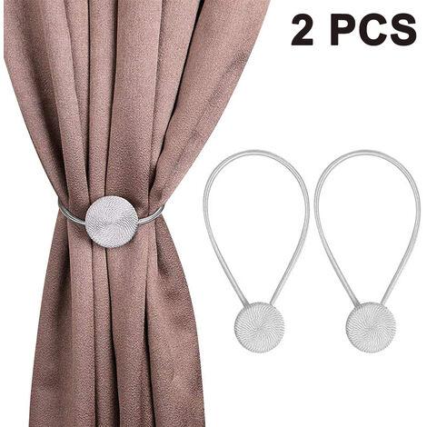 Embrasses de rideau magnétiques 2 pièces, retenues de rideau décoratives sans poinçon, boucle de rideau à armure magnétique forte pour petits rideaux de fenêtre minces ou transparents, gris