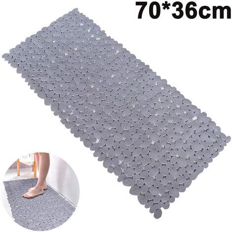 Tapis de bain Pebble Tapis de douche antidérapants avec ventouses, trous de vidange pour baignoire 70 * 36cm, gris