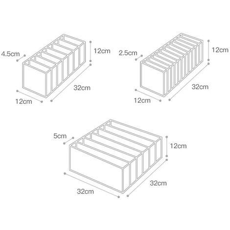 Séparateur de tiroir pour sous-vêtements, lot de 3 Comprend 6 + 7 + 11 cellules Armoire de rangement pliable Compartiment à tiroirs Boîtes de rangement, blanc