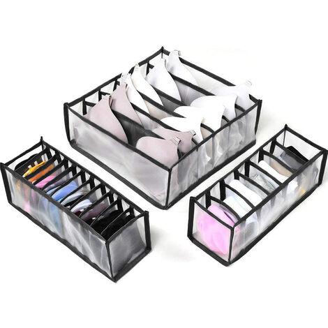 Séparateur de tiroir pour sous-vêtements, lot de 3 Comprend 6 + 7 + 11 cellules Armoire de rangement pliable Compartiment à tiroirs Boîtes de rangement, noir