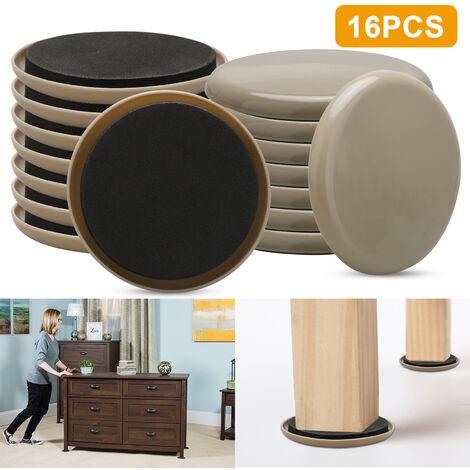 Kit de déménagement de meubles (16 pièces), curseurs de meubles de tapis rond de 3,5 pouces, déménageurs réutilisables pour meubles lourds pour surfaces en moquette et sols durs, patins de glissières compatibles avec tous les meubles