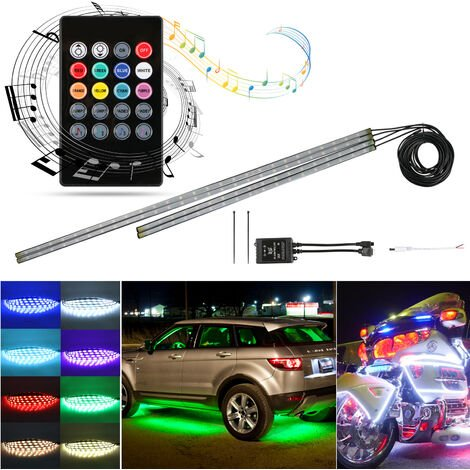 4Pcs Voiture LED Néon Undercar Glow Light Underglow Atmosphère Décorative Bar Lumières Kit Bande, 5050 SMD Système De Sous-Carrosserie Tube Imperméable Avec Son Activé