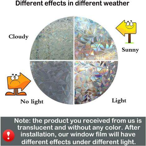 45CM x 200CM3D film de fenêtre anti-UV arc-en-ciel, effet de verre film de verre de fenêtre non adhésif film décoratif autocollant de fenêtre, utilisé pour la porte de la chambre de bureau à domicile
