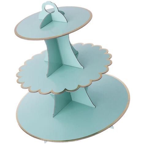 Carton de cupcake de support de gâteau à 3 niveaux, décoration de fête de mariage d'anniversaire d'enfants, vert