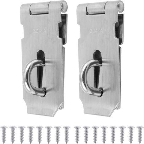 2PCS 7.6cm Cadenas Loquet de verrou de porte en acier inoxydable, Agrafe de cadenas Hasp, Serrure loquet de serrure de Porte