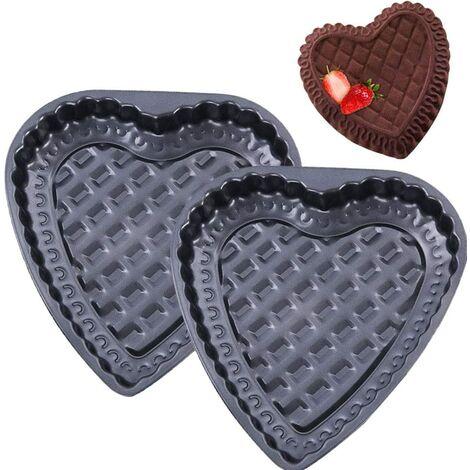 Moule à Gâteau -2PCS Forme de Coeur Moule Revêtement Antiadhésif Acier Carbone Moule à Tarte Cannelé pour Muffin Chocolat Gâteaux De Pain Crèmes Glacées Puddings Jelly