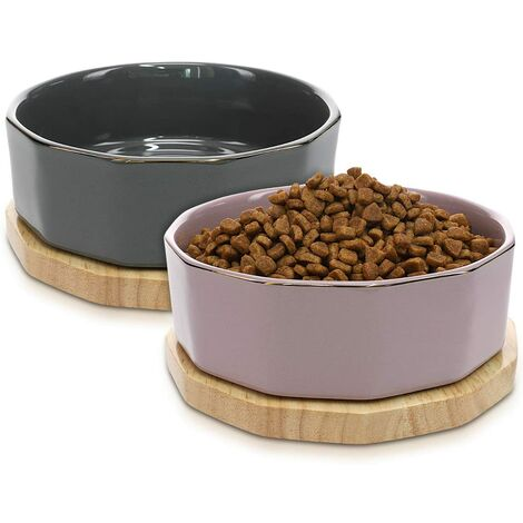 Lot 2X Bol en Céramique - Gamelle Design pour Chat Chien Chiot 800 ML avec Support en Bois de Chêne - Set 2X Gamelle Surélevée avec Socle