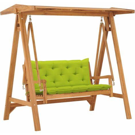Balancelle avec coussin vert vif 170 cm Bois de teck solide