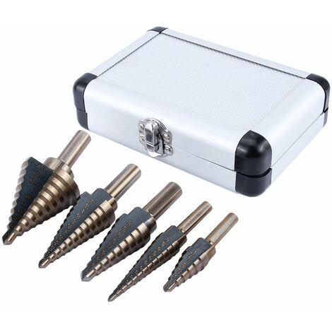 5Pcs HSS Forets étagé Titanium Mèche conique Trépan à redan kit Outil électrique avec Boîte range