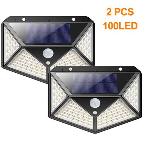 2 pièces de 100 lampes solaires extérieures à LED, solaire extérieure super lumineuse, appliques murales solaires 800 lumens, 3 modèles de lampes de jardin solaires extérieures étanches