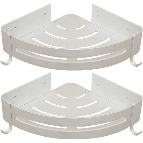 Sans Perçage Etagère de Douche Etagère de Salle de Bain Aluminium Antirouille Stockage Rangement 2 Tablettes pour Shampoing Savon (Étagère D'angle)