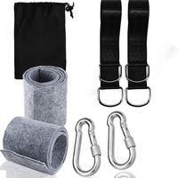Kit de harnais de suspension pour hamac avec 2 mousquetons robustes et anneaux en D, peut supporter jusqu'à 550 kg avec sac de rangement, coussin de protection d'arbre