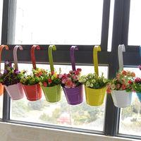 Lot de 6 jardinières suspendues colorées colorées fleur balcon pot de fleur couleur seau suspendu en métal pot suspendu seau en métal personnalité créatif grand pot de fleur