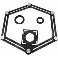 Outil de mesure d'angle en alliage d'aluminium à six faces, localisateur d'ouverture universel-règle d'angle universelle-outil de mesure multi-angle tout en métal-mise à niveau de la règle en alliage d'aluminium