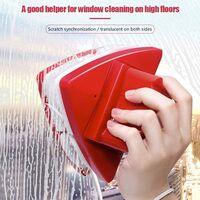 Nettoyant pour vitres double face essuie-glace en verre outils de nettoyage magnétiques, outils de brosse de lavage de planeur magnétique réglable à 5 vitesses rouge