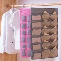 Sac de rangement suspendu avec cintre en métal, organisateur de rangement suspendu double face pour sous-vêtements, bas, soutien-gorge et chaussette (12 + 24 poches)