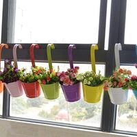 Ensemble de 6 auges à fleurs suspendues colorées, pots de fleurs de balcon, seaux suspendus en métal colorés, seaux en métal, grands pots de fleurs à personnalité créative