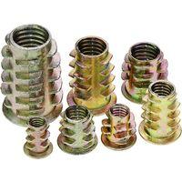 Lot de 120 écrous hexagonaux en alliage de zinc M4 M5 M6 M8 M10 avec inserts filetés pour meubles en bois avec boîte en plastique