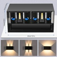 24W Applique Murale Interieur Exterieur 3000K Blanc Chaud avec Angle de Faisceau Réglable Lampe Murale Etanche IP65 Appliques Murales LED Noire pour Salon Chambre