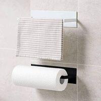 Porte-essuie-tout Porte-rouleau Porte-rouleau mural pour papier essuie-tout Sans perçage, aluminium, finition mate, porte-rouleau de papier Porte-essuie-tout