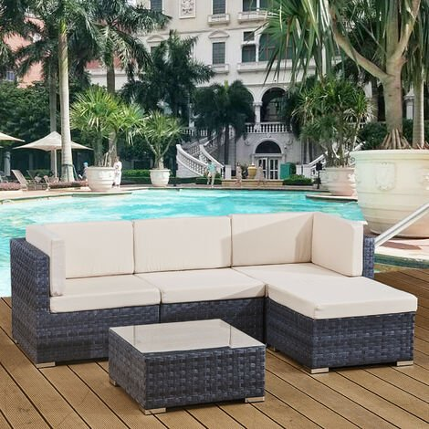 4 seats outdoor sofa rattan garden furniture set - Ocean grey - CANNES