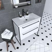 Mueble de baño blanco 80x50cm - 2 cajones - lavabo resina blanco - pies y tiradores