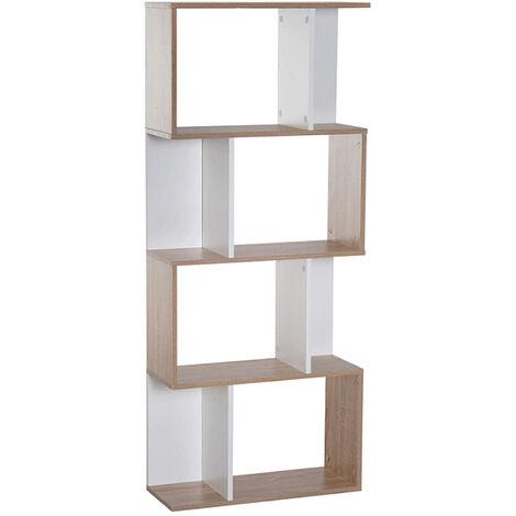 WYCTIN®estante para libros   estante   Librería de Madera, Separador de Espacios, Estantería de Exposición   Decoración contemporánea de 4 Niveles   Adecuado para sala de estar y estudio, roble blanco, 60 * 24 * 148 cm.