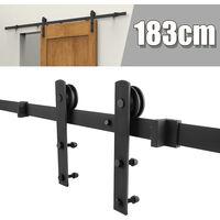 WYCTIN® Puertas correderas,puerta de granero, riel para colgar, estilo gancho recto, puerta individual de 183 cm