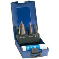 Set Broca corta (broca de corte progressive), acero corte rápido revestimiento , capacidad de perforación : 3-30,5 mm