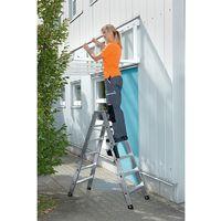 Escalera plegable de aluminio, acceso de dos lados 0,93 m 2 x 4 peldaños